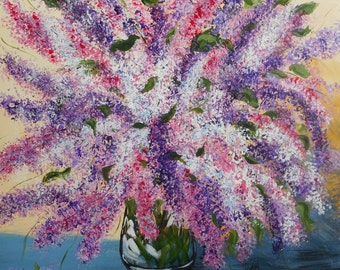 Lilacs from the garden- Gilcee fine art Print, still life purple, pink, mauve, and white lilac spring blooms- impressionism art