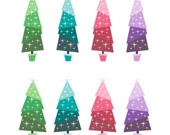 holiday tree clip art digital christmas trees retro christmas trees - Retro Christmas Tree
