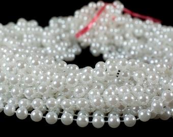 12 White Faux Pearl Necklaces, 120cm Long