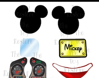 New Replacement Decals Stickers for Vtg Little Tikes Tykes Cozy Coupe Ride On Car 30th Mickey Mouse Mod Plus Extra Logos