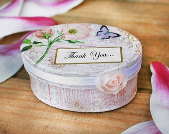 Personalised wedding box, Engagement ring box, Paper handmade romantic box, Dusky pink jewellery box, Box for ring