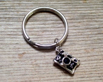 Silver Black Camera Keychain, Rhodium Plated Camera Key Ring, Photographer Key Chain