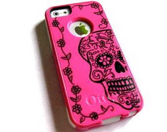 otterbox iphone 5s case, Iphone 5 case, Glitter case, Iphone cover, custom otterbox iphone 5, gift,skull iphone 5 case