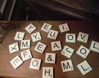 "Scrabble Inspired Porcelain Tiles 2"" x 2"" Choose Your Own Letters Up To 16"