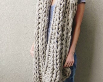 Handknit, Chunky Blanket, Oversized Scarf, Wrap Long Scarf, Home Interiors, Blanket, Extra Chunky, Light Beige, Beige
