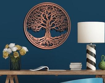 Tree of Life Metallic Laser-Engraved/Cut Wall Art Sculpture Hanging