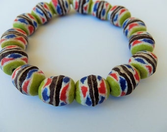15 pieces of Large African Trade Beads- Ghana Krobo Beads- Sankofa Trade Bead, Ethnic Beads, Powdered Glass Beads