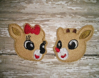 Set of 4 Christmas Rudolph Clarice Girl Boy Reindeer Hairbow Feltie Felt Embellishment Bow! Birthday Party