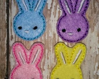 Set of 4 Girly Bunny Heads Faces Rabbit Easter Feltie Felt Embellishment Hair Bow! Birthday Party Easter Bunnies Eggs Planner Clip Felties