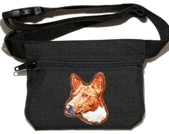 Basenji embroidered dog treat bag / dog treat pouch. For dog shows, dog walking and training. Great gift for dog lovers. Basenji gift.