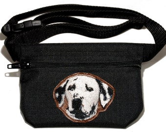 Embroidered dog treat waist bag. Breed - Dalmatian. For dog shows and training. Great gift for breed lovers.