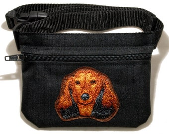 Dachshund (longhaired) embroidered dog treat waist bag (treat pouch). For dog shows, training and walking. Great gift for breed lovers.
