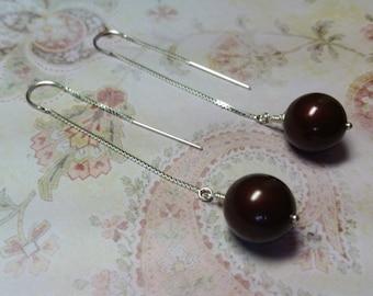 Handmade Hanging Bordeaux Pearl Earrings
