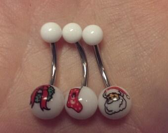 Christmas navel ring