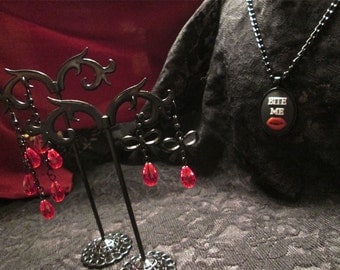 """The """"Bite Me"""" Vampire Necklace and Earrings Set"""