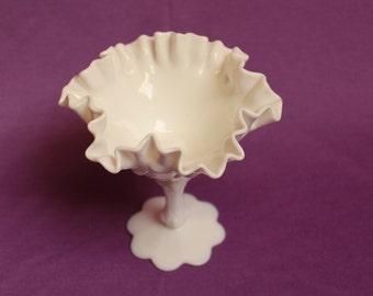 Fenton Vintage Milk Glass White Compote or Comport on Pedestal Homedecor