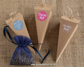 Wedding Confetti Cones (96) Confetti Holders Throw Me!/Sprinkle Me! Stickers Flecked Kraft Cones Lidded Rustic Wedding Petal Cones -  WED018