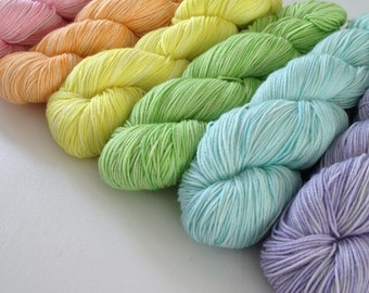 "Hand dyed Yarn ""Pastel Rainbow Set"" 300g DK / Sock weight"