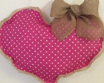 Pink Polka Dot Heart Burlap Door Hanger