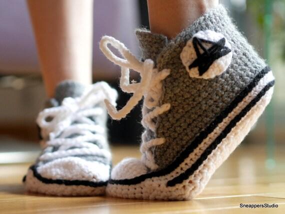 adulte pantoufles converse crochet akileos. Black Bedroom Furniture Sets. Home Design Ideas