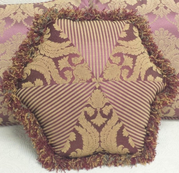 Burgundy Gold Damask Striped Throw Pillow With Fringe