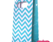 6 Aqua CHEVRON GLOSSY Stand Up Paper Party Bags / Candy Buffet  / Birthday Party Decoration Ideas and Supplies / Wedding / Baby Shower