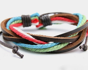 Leather and Hemp Bracelet Woven Leather Wrist Bracelet Multi-Color Braclet Adjustable Valentine's Day Gift  BST-147