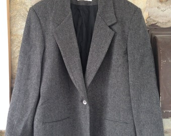 Vintage Wool One Button Grey Pea Coat