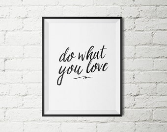 "Wall Quote ""Do What You Love"" Black and White Typography Poster Wall Decor Bedroom Home Decor Black And White"