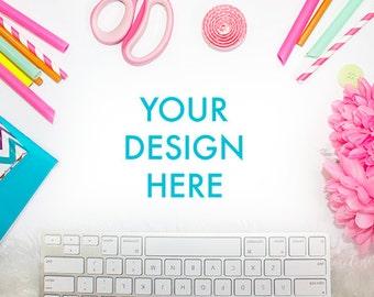 Desk Styled Stock Photography | White Desk | Office Stock Photo | Party Styled Stock Photo | Keyboard Styled Stock Photo