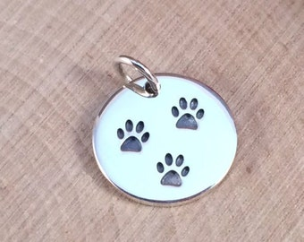Paw Print Charm, Paw Print Pendant, Paw Print Disk Charm, Animal Lover Charm, Dog Lover, Sterling Silver Charm, PS0161