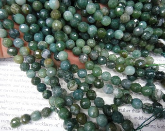 faceted round - 8mm natural moss agate beads, 15 inch