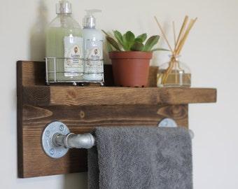 Small Rustic Industrial Towel Rack, Bathroom Shelf, Rustic Home Decor, Industrial Shelf, Rustic Wooden Shelf, Industrial Decor, Towel Rack