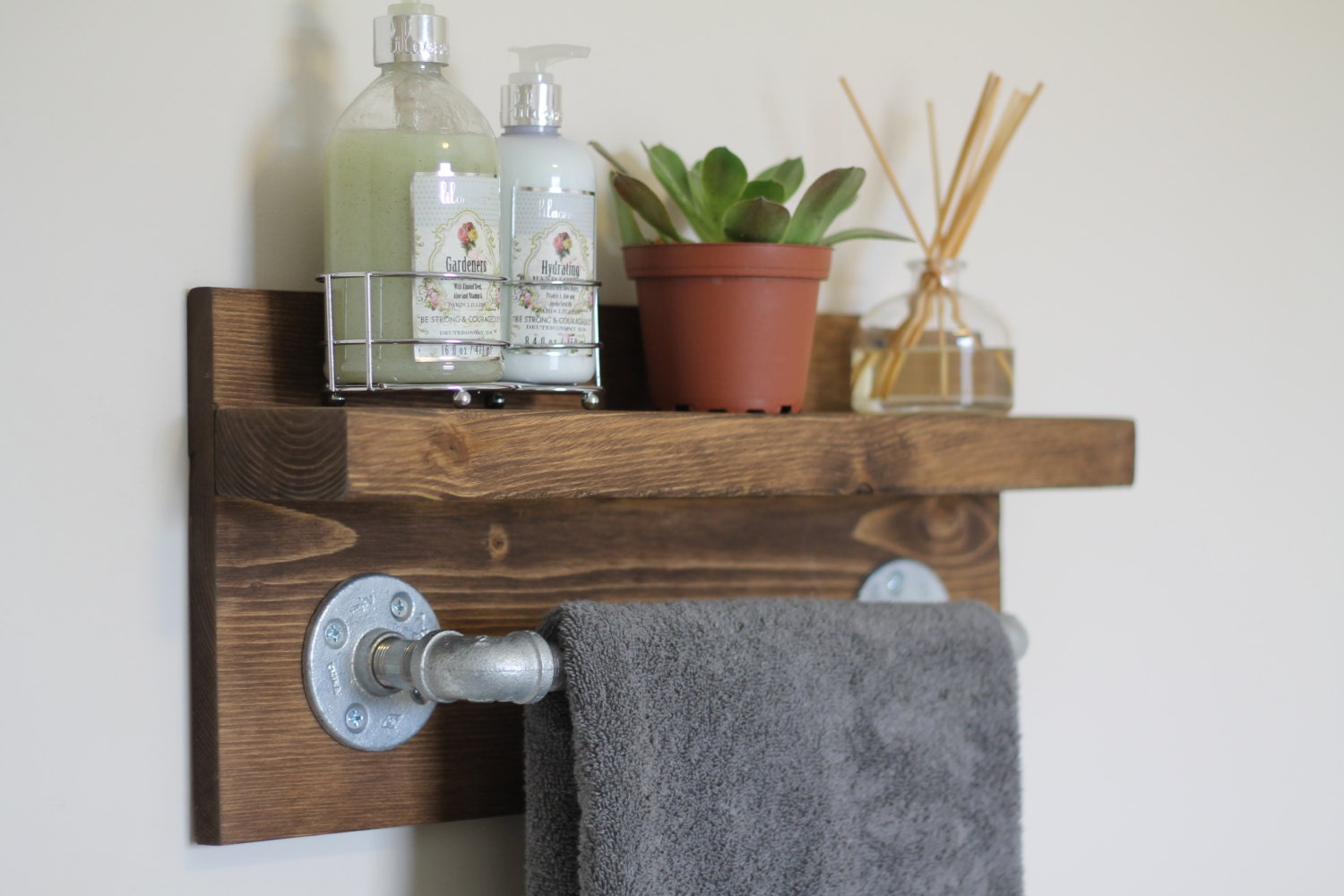 Rustic bathroom storage - Small Rustic Industrial Towel Rack Bathroom Shelf Rustic Home Decor Industrial Shelf