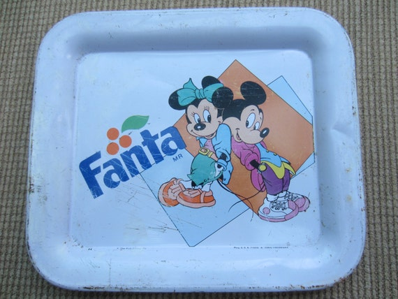 Vintage Mickey Mouse Fanta Tin Tray, Vintage Mexican Mickey Mouse Tin Tray, Mickey Minnie Mouse, Mexican Vintage Mickey Mouse Tin Tray