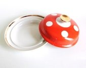 Vintage Polka Dot Butter Dish / Orange / White Dots / Gold / USSR / 1970s /