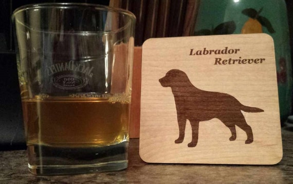 Labrador retriever dog wood coasters set of four gift for Dog house for labrador retriever