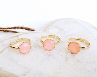 Gold Plated Sparkle Peach Ring