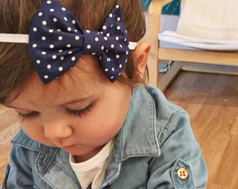 Navy Polka Dots baby bow