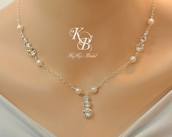 Bridal Necklace, Sterling Silver Necklace, Wedding Jewelry, Crystal Necklace, Wedding Necklace, Swarovski Crystal, Bridal Shower Gift