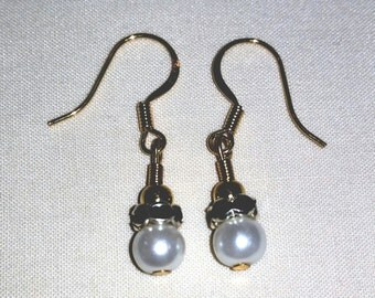 Glass Pearl Beaded Dangle Earrings