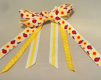 Yellow and White with Red Lady Bugs Ribbon Hair Bow