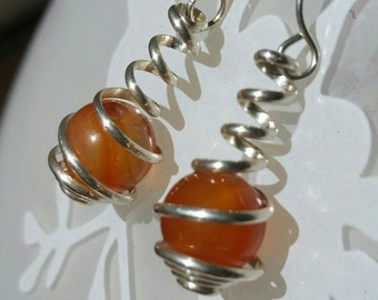 Warm Carnelian in Sterling Silver Wire Spiral Wrapped Caged Dangle Earrings