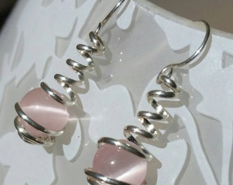Sterling Silver and Light Pink Cat Eye Wire Spiral Wrapped Caged Dangle Earrings