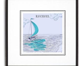 Blue Sailboat Personalized Art Print