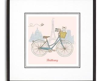 Biking in Paris Personalized Art Print