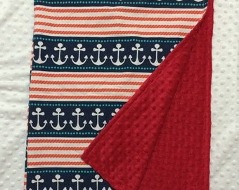 Minky Blanket with Anchors and Red Minky - Stay the Course, Michael Miller Ahoy Matey