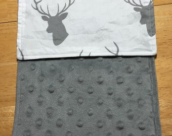 Minky Burp Rags - Grey Deer with Grey Minky