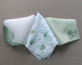 Three Handkerchiefs Hankies in Greens and White with Embroidery and Applique