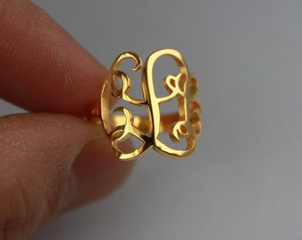 Monogram Ring, Silver Monogram Ring,Initial Monogram Ring, Personalized Ring, Engraved Ring, Bridesmaids Ring, Valentines Day